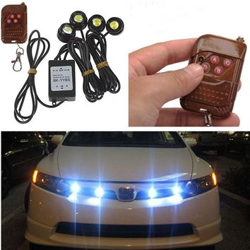 Universal 4in1 12V 12W Hawkeye LED Car Emergency Strobe Lights DRL Wireless Remote Control Kit 6000K Car Accessories