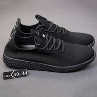 Adidas Pharrell Tennis HU Women Men Running Sport Casual Shoes Sneakers Full black G-SSRS-CJZX