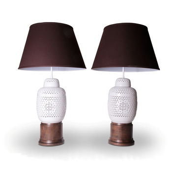 asian inspired white ceramic lattice and wood table lamps