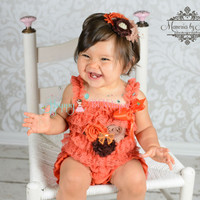 3pcs Fall Orange Romper set, baby girls outfit, Birthday outfit,flower girls, halloween,baby romper,Thanksgiving outfit, fall outfit, baby