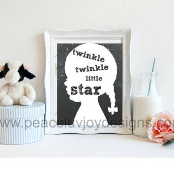 "Girl Nursery Printable.  ""Twinkle Twinkle Little Star"" 8x10. Nursery Rhyme. Instant Download.  Wall Art."