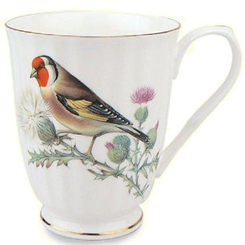 Set of 4 Red Bird 12 oz. Mugs Fine Bone China with Gold Trim