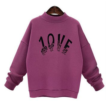 Spring Black Rose Red Hoodies with Print Letter Women's Fashion Long Sleeve Sweatshirts