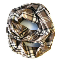 Plaid Infinity Scarf Cute Flannel Scarf Double Loop Scarf Black Taupe Cream Womens Tube Scarf Warm Winter Scarf Holiday Gift Ready To Ship
