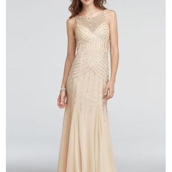 Illusion Neckline Beaded Strappy Back Prom Dress - Davids Bridal