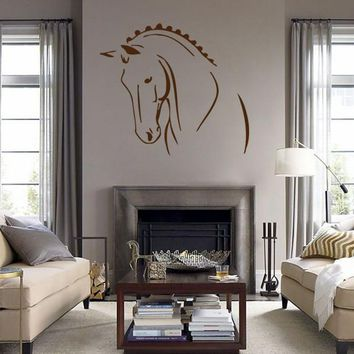 ik694 Wall Decal Sticker head horse nag pet stallion thoroughbred horse bedroom