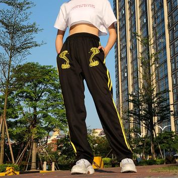 Retro Heavy Industry Embroidered Pants Women 2019 New Straight Pants ins Joker Loose Hip Hop High Waist Casual Pants Tide