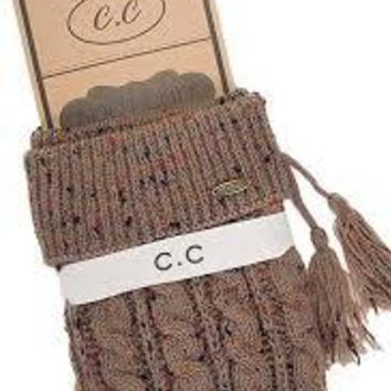 Cable Knit Confett Boot Cuff with Tassle- Taupe