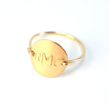 Personalized Custom Initial Letter Monogram Stamped Round Circle Disk Charm Signet Gold or Silver Menswear Ring Jewelry Valentine Gift