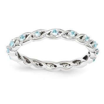 Sterling Silver Stackable Expressions Blue Topaz Twist Ring