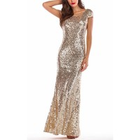 Fashionable sequined dresses, dresses and dresses with bare backs