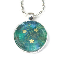 Galaxy Pendant with gold stars, shades of green and blue glass tile pendant jewelry, round necklace
