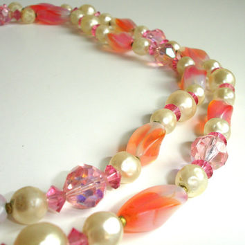 #Vintage #Pink and Faux #Pearl #Beaded #Necklace, #Opera #Length #Layering Necklace, #1950s Costume #Jewelry