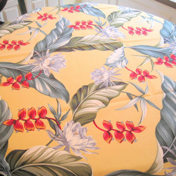 Hawaiian Barkcloth Tablecloth, Hawaii Floral Motif, Bold Colors Cotton, NOS