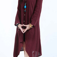 Coffee Colored Button Down Long Sleeve Midi Dress