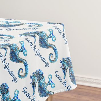 Coastal Aqua Seahorse Seas & Greetings Tablecloth
