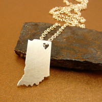 INDIANA  State necklace tiny  sterling silver by StefanoArt