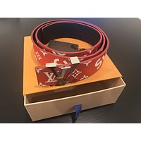 Louis Vuitton x Surpreme Monogram Leather Red Belt Size 95cm/38in