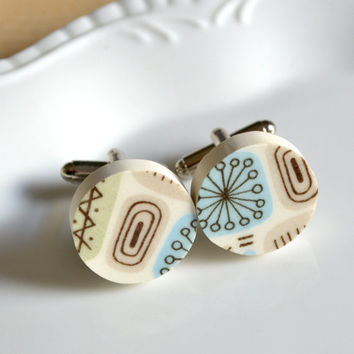 Simple Circle Broken Plate Cuff links - Temporama - Recycled China
