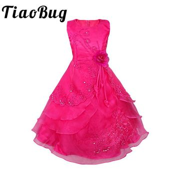 TiaoBug 4-14Y Girls Kids Pageant Party Wedding Bridesmaid Ball Gown Prom Princess Formal Occassion Long Flower Tulle Tutu Dress