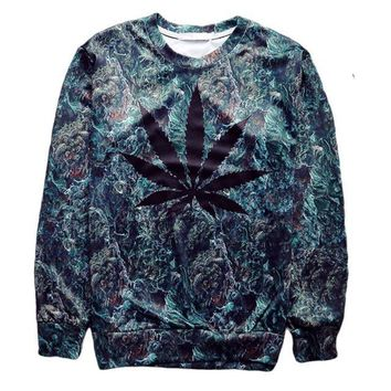 Black CannaLeaf Crew-Neck Sweatshirt - CannaCrews