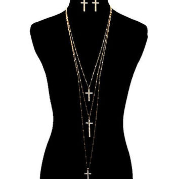 Women's Cross Necklace Set. Gold Tone Chain Necklace Set with Three Cross Pendants. 108 Inches in Length.
