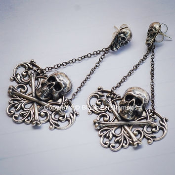 NEW - Itzpapalotl Earrings No. 2 - Victorian Plaque Skull CrossBones Goddess Warrior - American Made Components