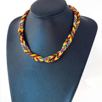 Long beaded necklace ,bead crochet , patchwork print necklace ,african style, beadwork lariat, rope jewelry