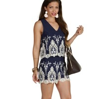 Sale-the Country In My Soul Crochet Blue Romper