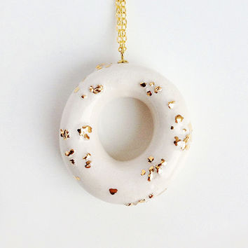Milky Donut with Gold Sprinkles - handmade ceramic jewellery dessert