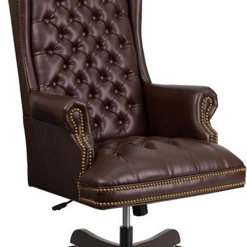 High Back Traditional Fully Tufted Brown Leather Executive Swivel Ergonomic Office Chair with Arms [CI-360-BRN-GG]