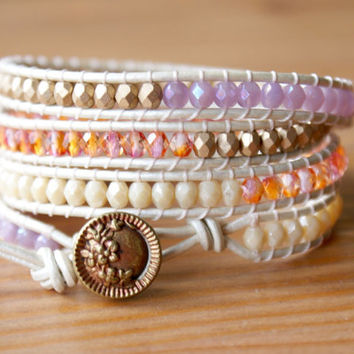 Beaded leather wrap bracelet, Bohemian trendy jewelry, metallic gold, white, pink, cream, lilac, antique, boho chic, gift idea, hipster