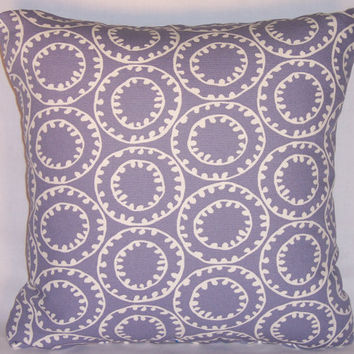"Purple Geometric Gears Throw Pillow P. Kaufmann Ring A Bell Periwinkle Lavender 17"" Cotton Square Ready Ship Cover and Insert"