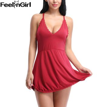 FeelinGirl Sexy Mini Nightgowns Women Nightwear Sleepwear V-Neck Babydolls Summer Style Silk Lingerie Lace Dress Robe Pyjama -C