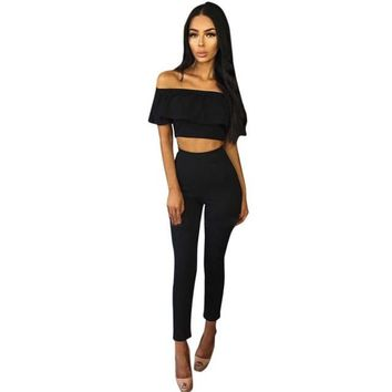 Womens 2 Piece Set Off Shoulder Sleeveless Lotus Jumpsuit Ladies Cut Out Bodycon Pencil Overalls For 4 season #1212