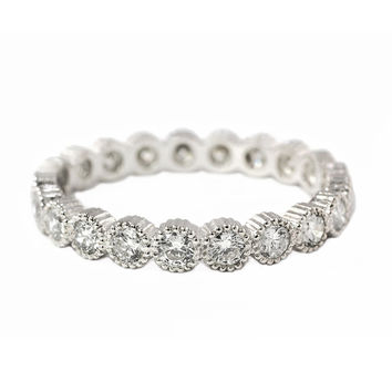 0.93ct Round Diamonds in 18K White Gold Milgrain Bezel Wedding Eternity Band Ring