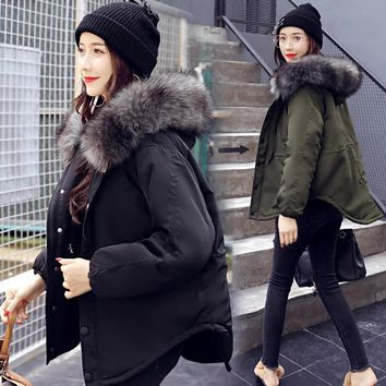 Fashion Hooded Short Women Winter Jacket with Fur Collar Warm Thick Parka Cotton Padded Female Casual Womens Coat WLD262