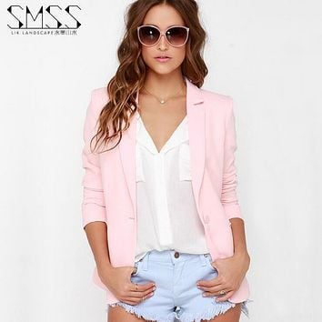 XS-XXL 6 Size Women Blazer Pink 2017 Spring Autumn Big Size Lapel Jackets Long Sleeve Casual Jaqueta feminina