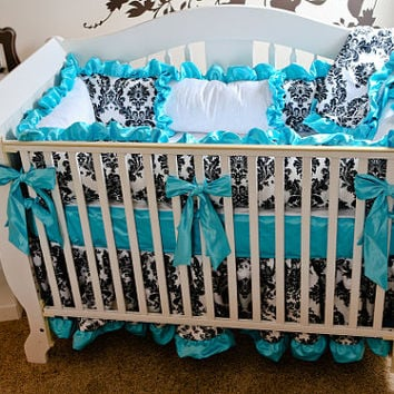 Bumperless Custom Crib Bedding, 3 or 4 Pc Crib Set, Custom Baby Bedding, Girl Baby Bedding, Fancy Baby Bedding, Ritzy Baby