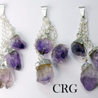 Silver Plated 3 Piece Amethyst Dangle Pendant (DA4BT)