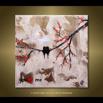 "Abstract Original Painting ""You and Me"" Love Birds Valentines Day Gift Hand Paint decorative canvas art by Judith Yabut"