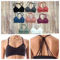 Keep it Strappy Padded Bralette: Multiple Colors