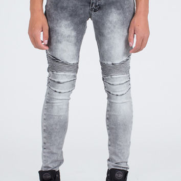 Ron Tomson Grey-Black Quilted Skinny Washed Moto Jeans