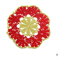 Red and Gold Crochet Christmas coaster, Crochet coasters, Christmas table decoration, Sottobicchiere rosso e oro Natale