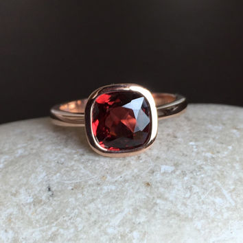 14k Rose Gold Garnet Ring- Rose Gold Ring- Square Ring- Bridal Ring- Promise Ring- Engagement Ring- Anniversary Ring- Wedding Ring- Cushion
