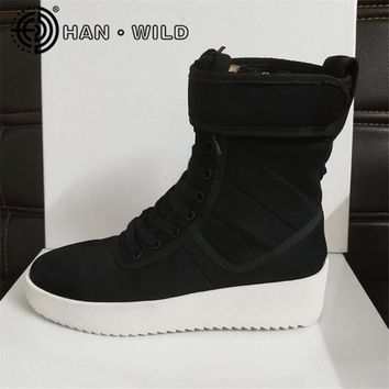Justin Bieber Fear of God Ankle Boots 100% Genuine Leather Kanye West Boots Men Casual Shoes FOG Platform Botas Knight Boots