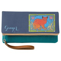 Lovely Ginger Cat with Bindi and Pink Lilies Clutch