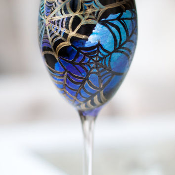 Halloween Galaxy Wine Glass: Cobweb Witch Glass