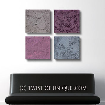 Modern Painting,  3 square ORIGINAL Abstract Wall Art,  Abstract Painting, -Purple, Taupe, Gray, Grey, Grape