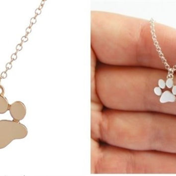 Paw Print Stackable Necklace I Silver & Gold